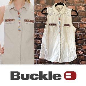 Buckle Bead Embellished Khaki Sleeveless Top